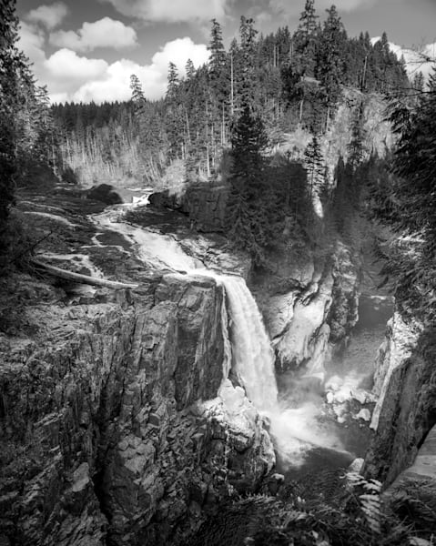 Elk Falls Winter Monochrome - Landscape Images In Black And White By Eiko Jones