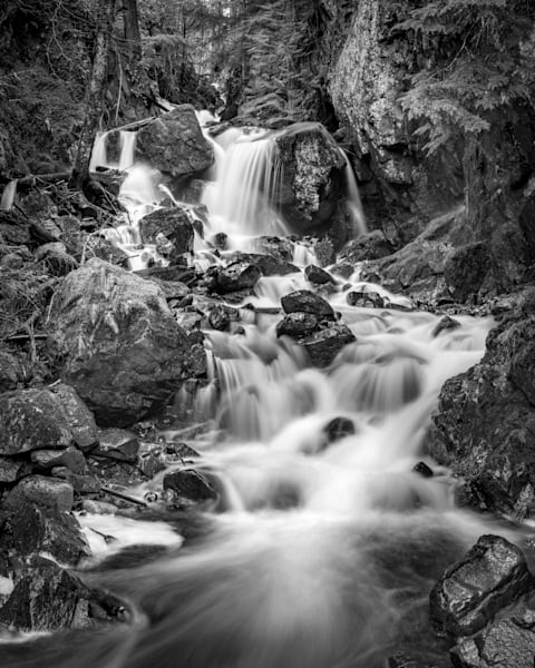 Strathcona Waterfall in Monochrome