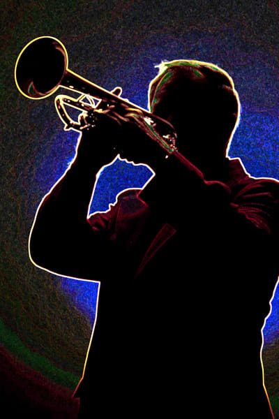 Trumpet Silhouette Blues Player 2508.73