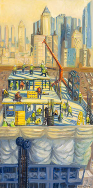 """Worksite at Dawn, Winter 2016, 48"""" x 24"""""""