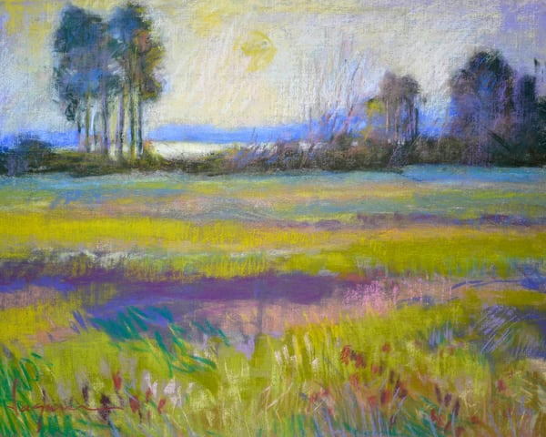Pastel Landscape Art Print Painting, Meadow at the Crossing by Dorothy Fagan