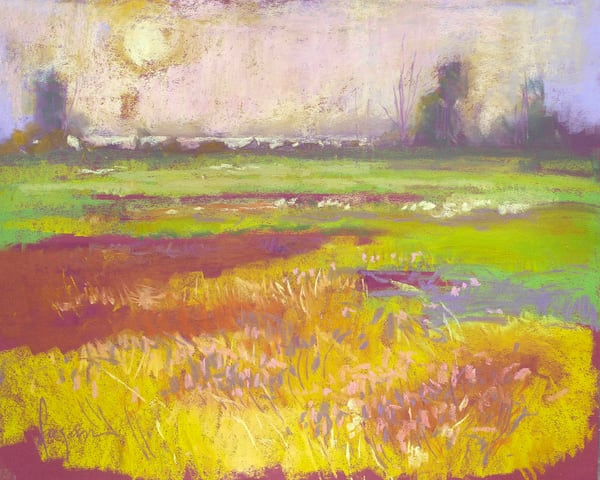 Inspirational Sunset Art Print Blooming Meadow by Dorothy Fagan
