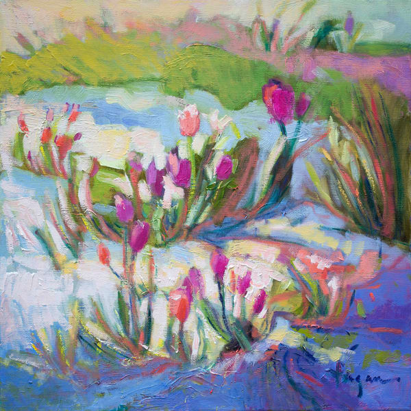 Colorful Pink Tulips Art Print on Canvas, April Message by Dorothy Fagan