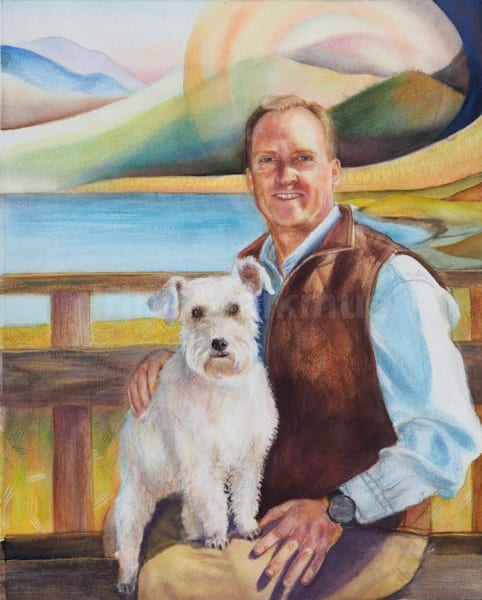 Example of Watercolor Portrait - High Quality Custom Portraits in Watercolor buy artist Irina Malkmus. People and animals.