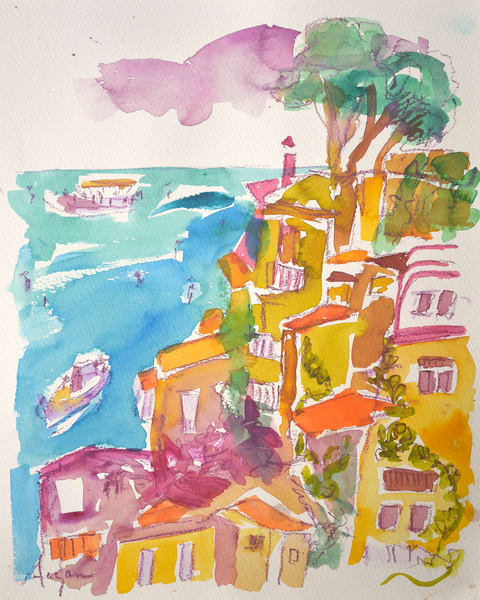 Sorrento Watercolor Art Print, Enchanted by  Dorothy Fagan