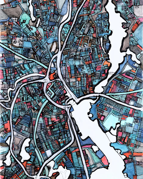 Abstract Map Prints of Providence Rhode Island | Digitally merged illustrations and paintings in nautical colors | Available as Art Prints on Canvas, Paper, Metal & More