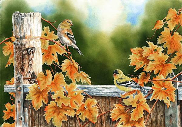 Goldfinch Autumn Original Watercolor painting