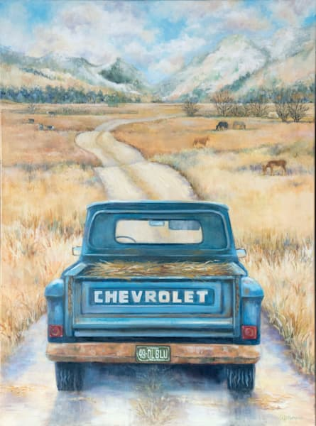 A painting of a blue chevy hauling hay down a dirt road on the family ranch