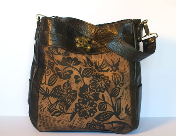 Espresso tote large with sparrow print the Emilie