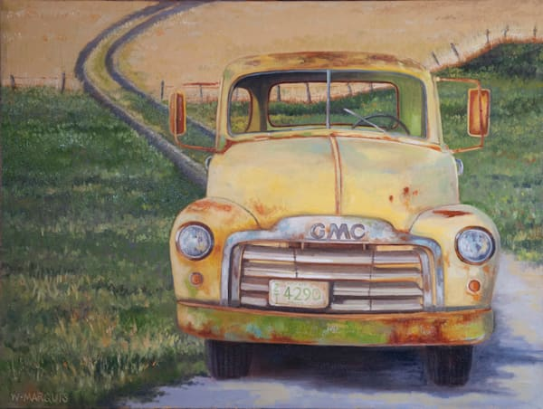 GMC, pickup, truck, yellow, oil painting