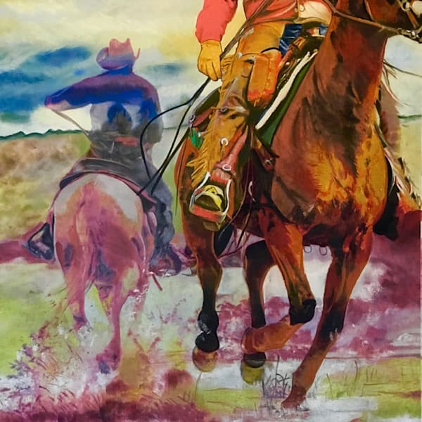 Pony Express - An Original Pastel Western Art by Julie Howard