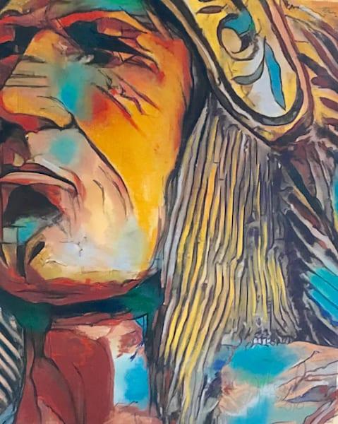 Pastel western art original Native American painting in pastel