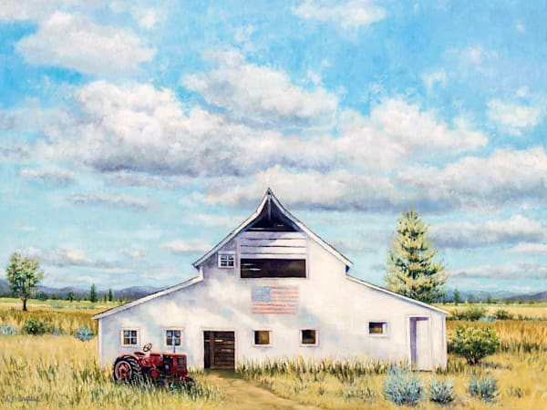standing, the test of time, white barn, farmall, red, tractor, landscape, original
