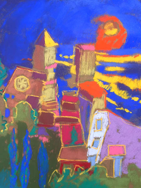 Vivid Color Cinque Terre Painting, Original Pastel Waiting for the Sunset by Dorothy Fagan