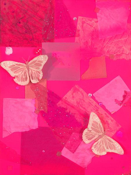 ATR Editions - Mixed Media Art - Pink Butterflies- Fine Art Prints on Canvas, Paper, Metal by Navy Veteran Angelo T. Robinson