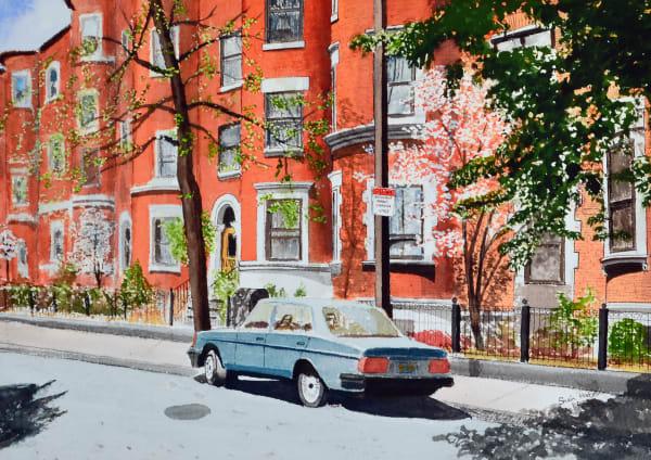 Gainsborough Street Condominiums and brownstones - watercolor