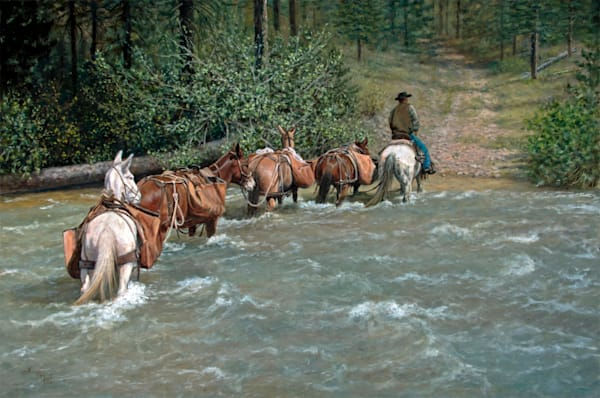 Fording the River - Horses Crossing River Oil Painting by Kaye York