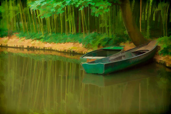 Two Boats in Monets Garden