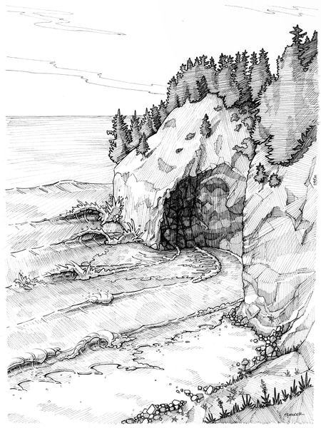 China Creek Dream Pen and Ink by Spencer Reynolds
