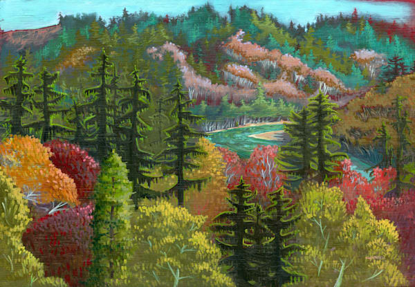 Fall on the Chetco Painting by Spencer Reynolds