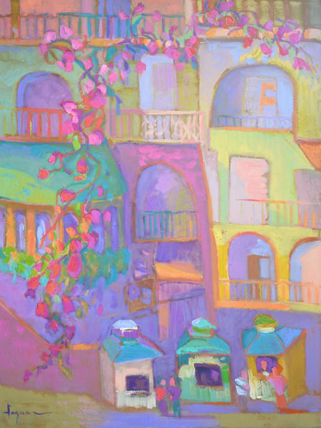Positano Amalfi Coast Art Print on Canvas, Ticket to Paradise by Dorothy Fagan