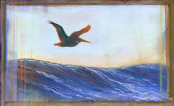 Pelican at Rincon Painting by Spencer Reynolds
