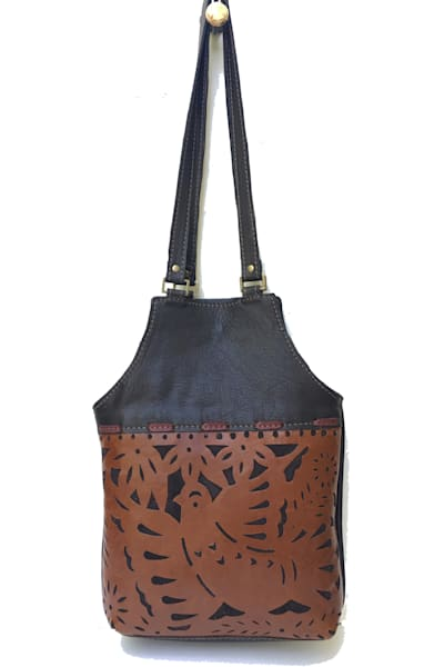 medium leather tote in dark brown and toffee with bird motif
