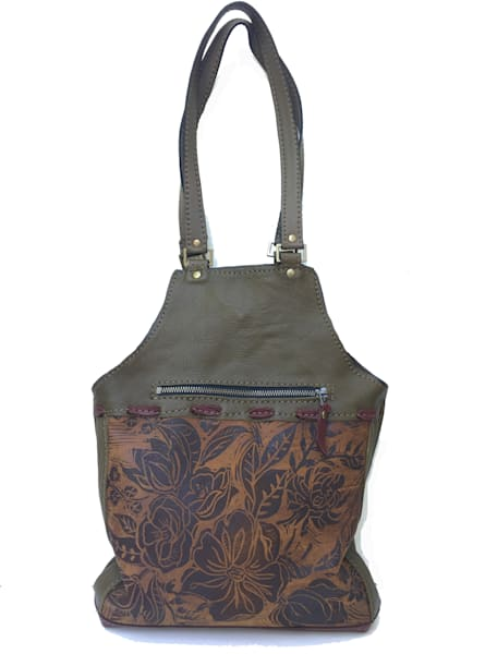 Olive leather tote bag medium with peony print