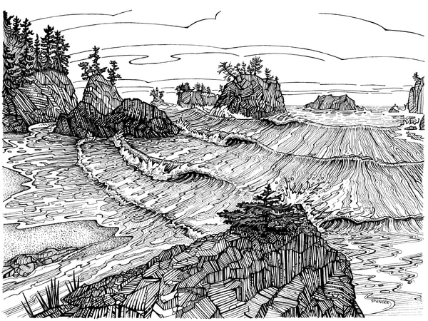 Secret Beach Dream Pen and Ink by Spencer Reynolds