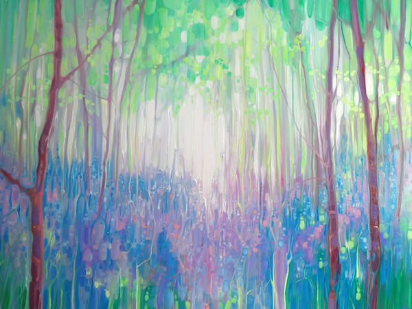 Bluebell Invasion Spring woodland abstract with bluebells