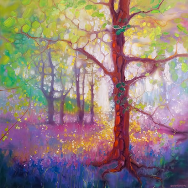 Print of April in the Forest - a bluebell and wildflower woodland painting