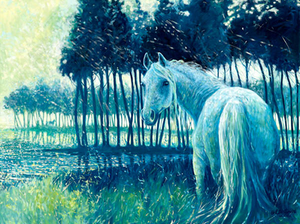 Print of Blue Mare - painting of a horse at sunrise