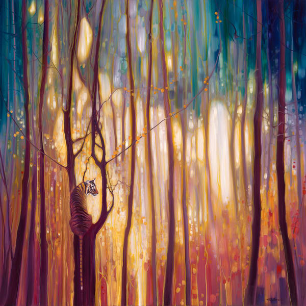 Print of Burning Bright - A tiger in a glowing forest