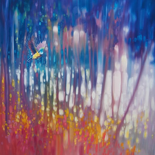 Print of Jewel Of Nature - Semi Abstract With Woodland Bird