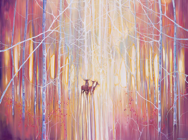 Print of Manifestation - A Winter Woodland Landscape With Deer