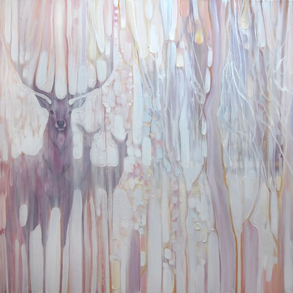 Spirit Guides a white painting with deer in winter landscape