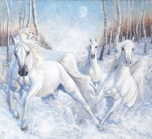 Print of White Horses in Snow