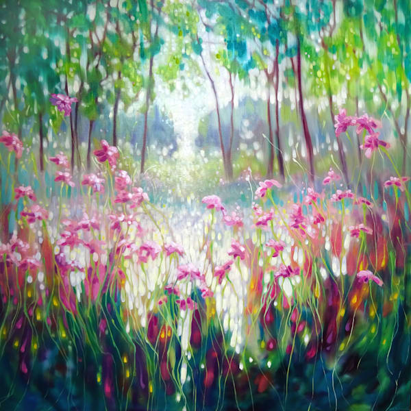 The Angel of Spring Rises - pink daisies against a green forest and a lake