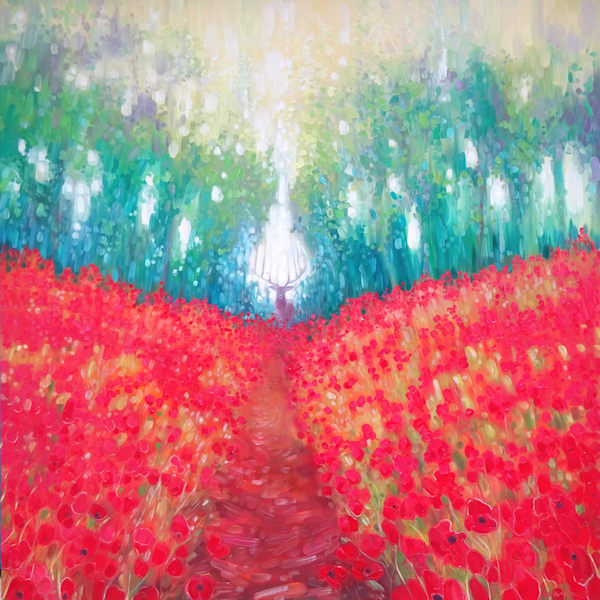 Hart of Summer - landscape with poppies and a stag