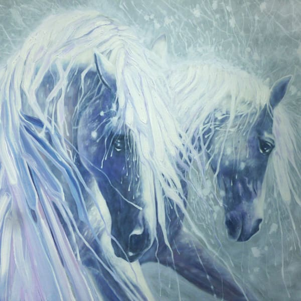 Print of Ice horses - two grey stallions in art nouveau style
