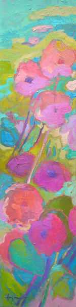 Tall Narrow Abstract Floral, Radiant Beauty Canvas Print Painting by Dorothy Fagan