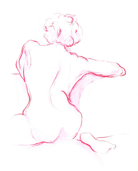 Nude Female Back Magenta Original Figure Drawing Art | Michelle Arnold Paine Fine Art