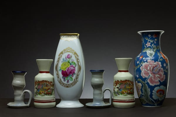 Fine Art Photograph of Vases with Chinaware by Michael Pucciarelli