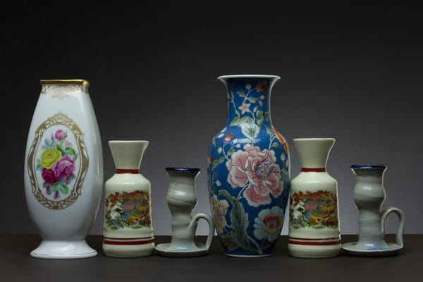 A Fine Art Photograph of Vases with Chinaware by Michael Pucciarelli
