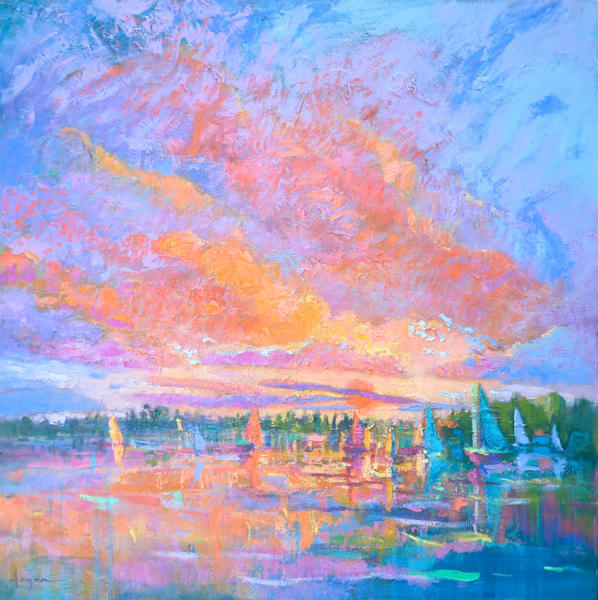 Beautiful Sunset Sailboats Original Oil Painting, Suncatcher by Dorothy Fagan