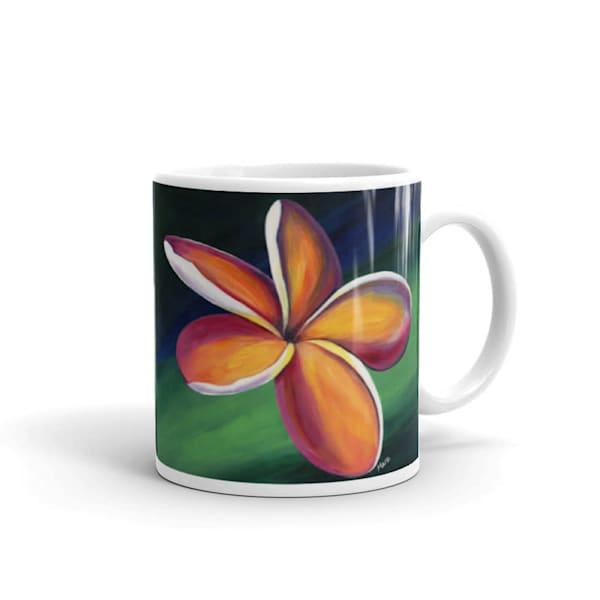 Mare's Mugs - ceramic coffee mug printed with bright and colorful Mare's art artwork of Dancing Plumeria