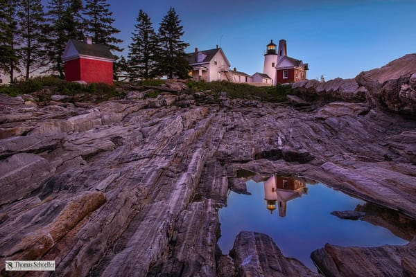 Pemaquid Point Lighthouse reflected in a pristine pool of water/Fine Art photography prints of Maine by Thom Schoeller