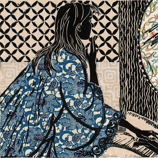 'Reflection', handprint linocut | signed&numbered by Ouida Touchon, artist