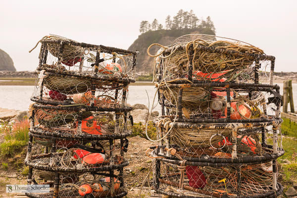 Crab pots and crabbing gear/Quileute reservation La Push harbor/Fine Art Prints by Thom Schoeller