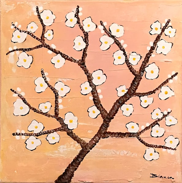 Almond Blossoms Pink by Bianca De Navarro Cubric | SavvyArt Market Original Abstract Painting